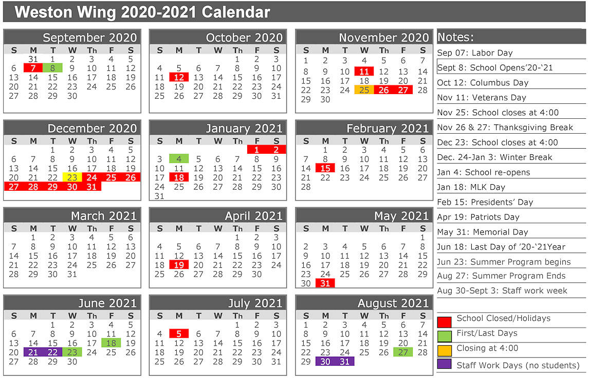 2020-2021 Calendar